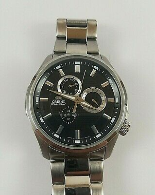 ORIENT Chronograph SUT0C001B0 Day Date Watch Japan Made WR 50m All St Steel