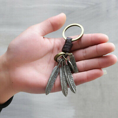 Boho Keyring Feather Keychain Hollow Leaves Weaving Keychain Pendant 8C