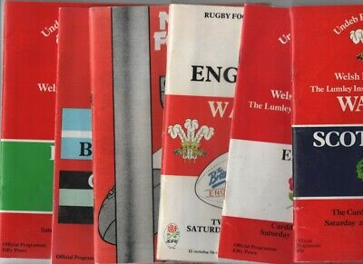 Rugby Union programmes x 6 inc. Wales England Scotland Ireland FIVE NATIONS 80's