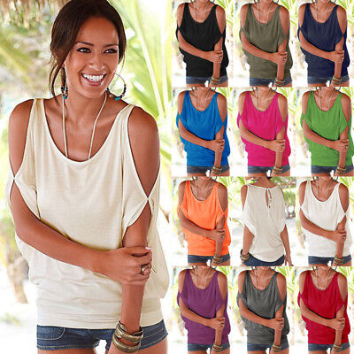 Plus Size Womens Cold Shoulder T Shirt Blouse Ladies Summer Loose Casual Tops CA