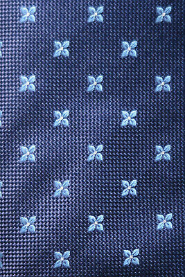 af16b55330a1 Eton Woven Silk Tie Navy Sky Blue & White Flower Heads A Wedding Stunner Nm-