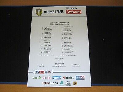 2018/19 CHAMPIONSHIP LEEDS UNITED v DERBY COUNTY  OFFICIAL TEAM SHEET