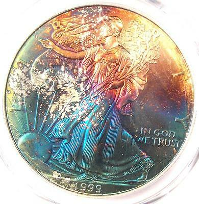 1999 Toned American Silver Eagle Dollar $1 ASE - PCGS MS68 - Rainbow Toning Coin