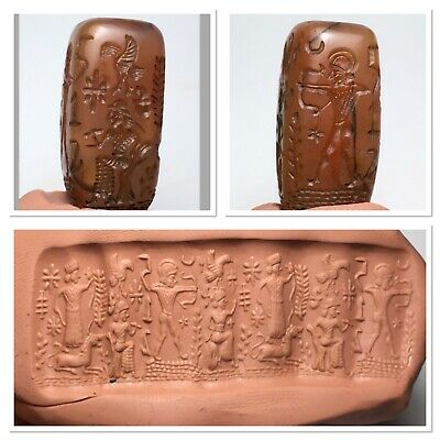 Tip top rare old Sassanian agate cylinder seal 4 side unique intaglio