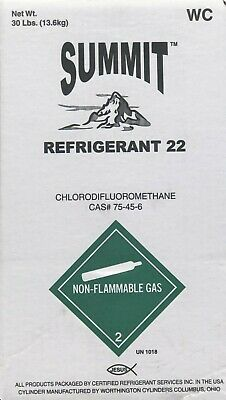 30 lbs R22 Refrigerant / Unused / Factory Sealed / Made in USA Same Day Shipping