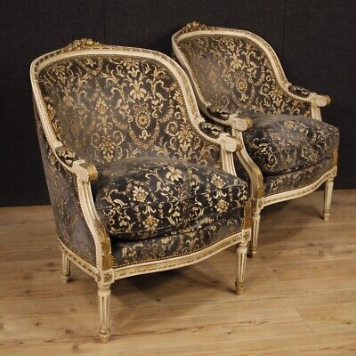 Couple armchairs chairs living room furniture wood lacquered golden velvet