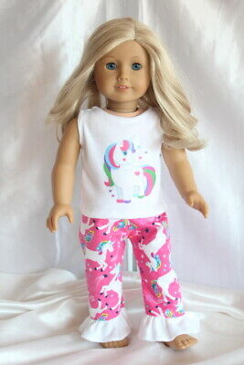 Doll Clothes fits 18inch American Girl Dress Outfit Unicorn Pajamas Hearts