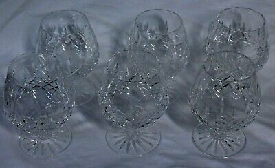 6 Waterford Crystal Glass Lismore Footed Brandy Snifters Signed MINT