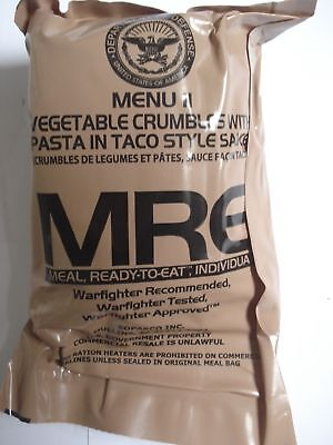 MRE Menu 11, Vegetable Crumbles with Pasta in Taco Style US Army EPA Verpflegung