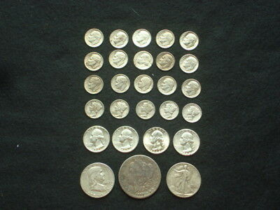 $5 Face Value Lot Of 90% Silver U.s. Coins Mixed Variety L9