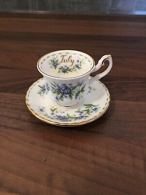 Royal Albert Flower of the Month Mini Tea Cup And Saucer - July Forget-me-Not