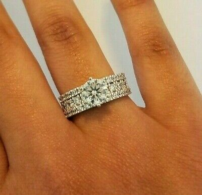 14k Solid White Gold Engagement Wedding Ring 2.25 CT Round Cut Diamond