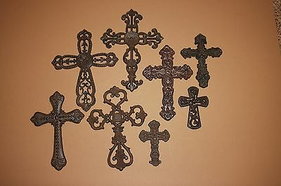 (8) Old World Mission Christian Wall Cross Decor Collection Rustic Cast Iron