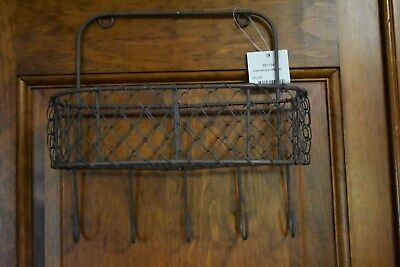 New Primitive Farmhouse Hanging Chicken Wire Basket With Hooks Home Decor