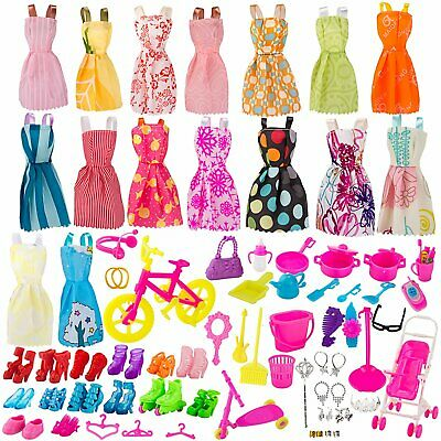 130 Pcs Doll Clothes Huge Lot Gown Outfits Party Accessories Barbie Girl New!!