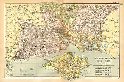 1899 Large Victorian County Map ~ Hampshire South Sheet Portsmouth Isle Of Wight