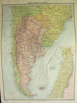 1920 Large Map ~ Southern South America Argentina Bolivia Chile Falkland