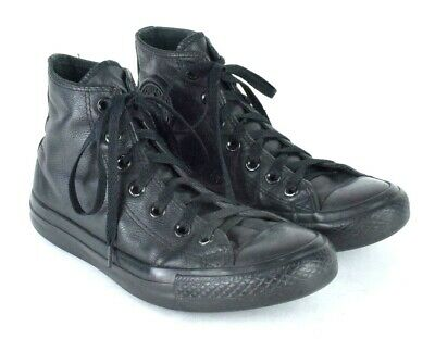6e7f99a99abd Converse All Star Chuck Taylor Black Leather High Top Sneaker Shoes Ankle  Boot 7
