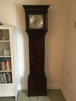 8 Day Brass Square Dial Grandfather Clock