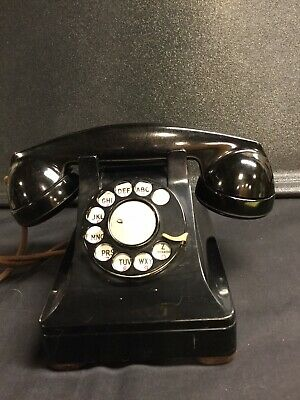 Antique Bell System Western Electric Black Rotary Desk Telephone F1 Handset
