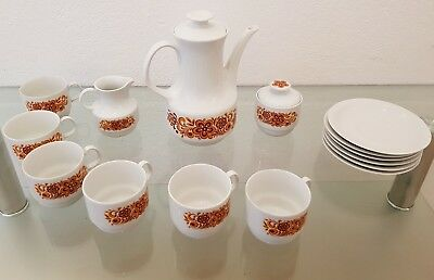 Antikes original Bareuther Waldsassen Bavaria Kaffee-Service, 6 Personen