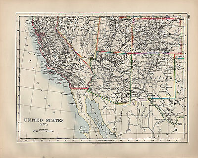 1899 VICTORIAN MAP ~ United States South West ~ California ...