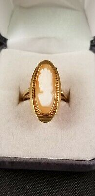 Vintage Antique Ladies 18K 750 Yellow Gold Carved CAMEO RING SIZE 5