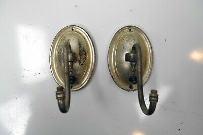 antique silver pair of single candle sconces