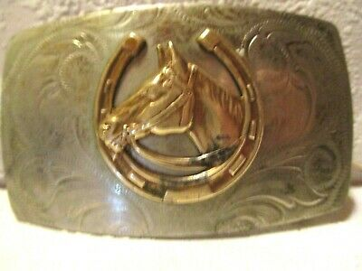 Rare JUSTIN German Silver Hand Made HORSE HEAD & HORSE SHOES BELT BUCKLE