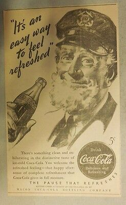 "Coca-Cola ad: ""Easy Way to Feel Refreshed"" 1930's ~ 6.5 x 9 inches 1930's"