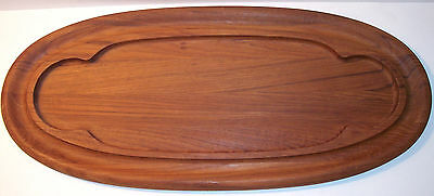 mid century Dansk wooden teak oval bread cheese board serving IHQ Denmark 22 1/2