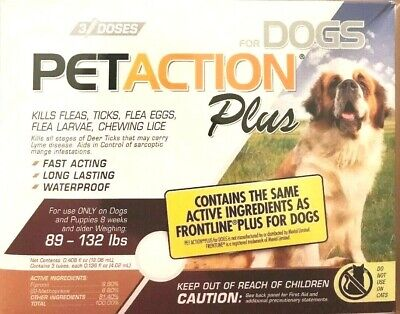 PetAction Plus Flea & Tick Drops for Large Dogs 89-132lbs 3 Doses