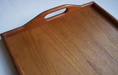 mid century wooden teak bread cheese board serving breakfast handled TV bed tray