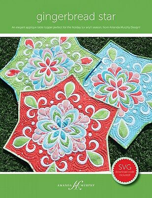Gingerbread Star Table Topper Applique Quilt Pattern ~ Amanda Murphy Design