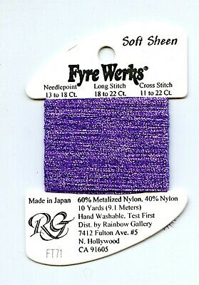 "Rainbow Gallery Fyre Werks Soft Sheen FT71 Purple Rain 1/16th"" metallic ribbon"