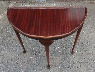 Art Deco Queen Anne antique figured mahogany demi lune console hall side table