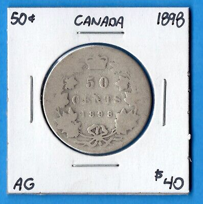 Canada 1898 50 Cents Fifty Cents Silver Coin - AG