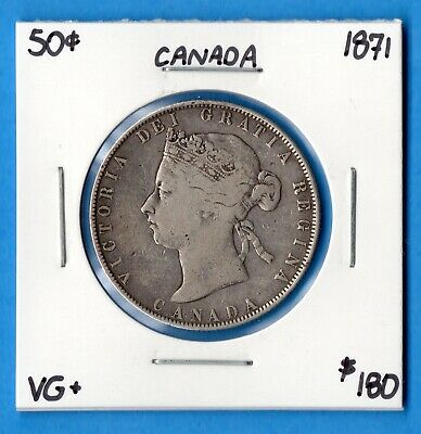Canada 1871 50 Cents Fifty Cents Silver Coin - Very Good+