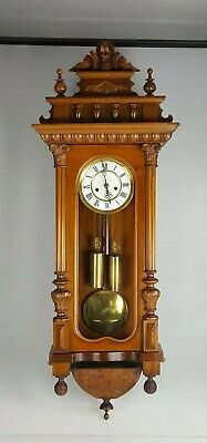 Fab Old & Very Small  Double Weighted Gustav Becker Vienna Wall Clock