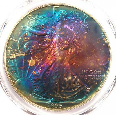 1995 Toned American Silver Eagle Dollar $1 ASE - PCGS MS67 - Rainbow Toning Coin