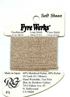 "Rainbow Gallery Fyre Werks Soft Sheen FT1 Mocha 1/16th"" metallic ribbon 10yds"