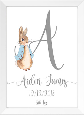 Personalised Peter Rabbit Boys Nursery Prints, Kids Poster Pictures Room Decor