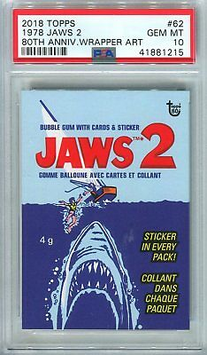 2018 Topps 80th Anniversary Wrapper Art #62 ~ 1978 Jaws 2 /232 ~ PSA 10 GEM