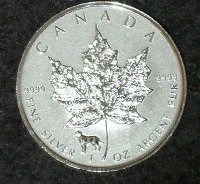 2018 1 oz Dog Privy Canadian Silver Maple Leaf Reverse Proof Coin - $5 Coin