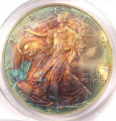 2001 Toned American Silver Eagle Dollar $1 ASE - PCGS MS66 - Rainbow Toning Coin
