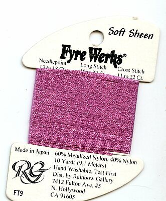 "Rainbow Gallery Fyre Werks Soft Sheen FT9 Rose 1/16th"" metallic ribbon 10yds"