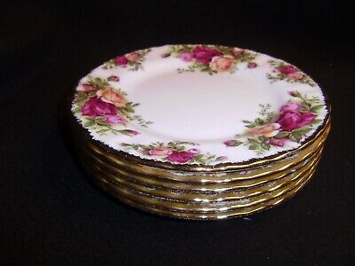 6 ROYAL ALBERT Old Country Roses 6 1/2 Inch Tea or B&B Plates MADE IN ENGLAND