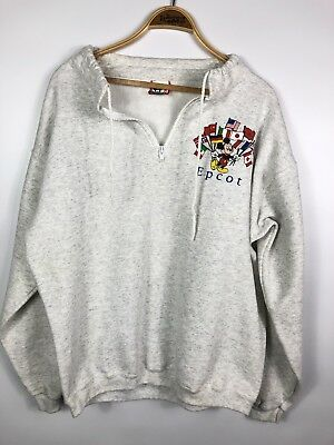 Vintage 80s EPCOT MICKEY Pullover Sweatshirt World Flags Sz Large USA Made