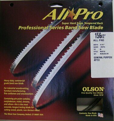 "Olson AP73156 156-1/2"" All Pro Band Saw Blade x 1/4"" x .025"" 6 TPI Style Regular"