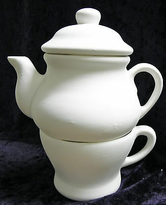 Ready to Paint Ceramic Bisque- Tea for one Modern Teapot Set